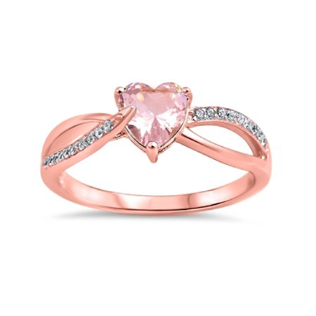 - Pink Simulated Morganite Cubic Zirconia Heart Swirl Ring Rose Gold-Tone Plated Sterling Silver