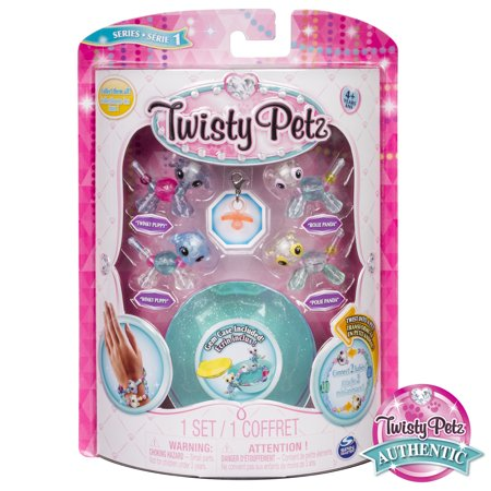 Twisty Petz - Babies 4-Pack Pandas and Puppies Collectible Bracelet Set for Kids - Twistys Large
