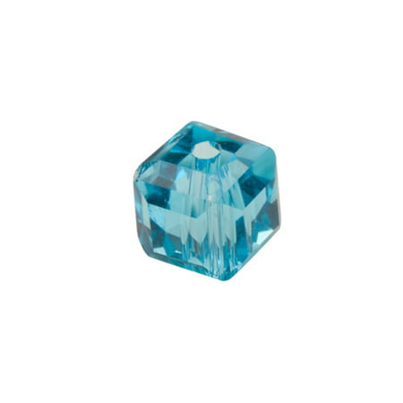 Aqua Blue Cube Crystal Beads 6mm, 68 Beads / string of 16 inchs
