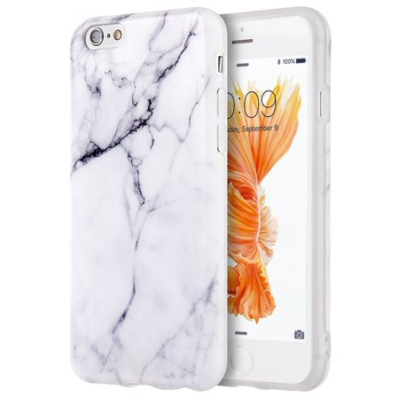 For Apple iPhone 6 / 6s TPU Marble Stone Pattern Texture Visual IMD Shell Case Cover - White by Insten