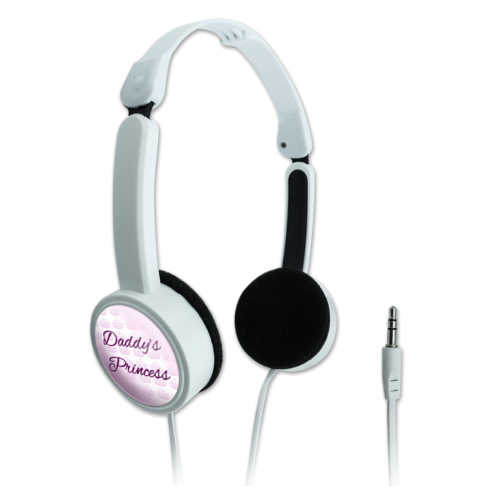 Daddy's Princess with Pink Crowns Novelty Travel Portable On-Ear Foldable Headphones