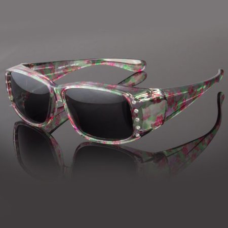 POLARIZED Rhinestone cover put over Sunglasses wear Rx glass fit driving (Shades Over Glasses)