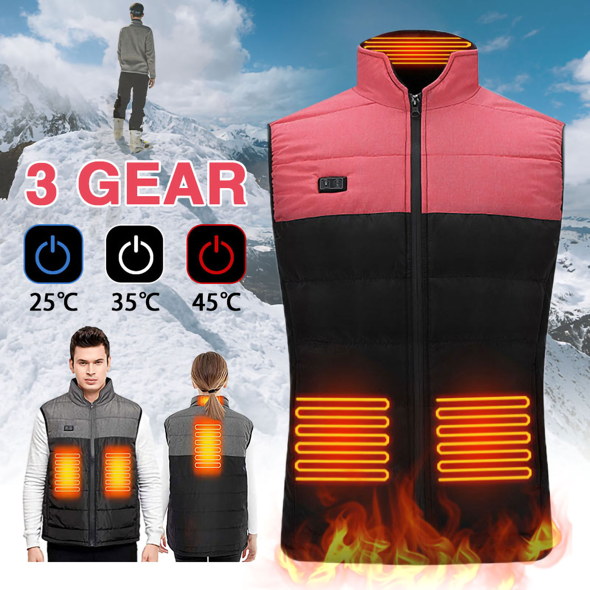 USB Charging Electric Heating Vest for Outdoor Lightweight Washable Heated Waistcoat Men /& Women Heated Jacket M, Pink