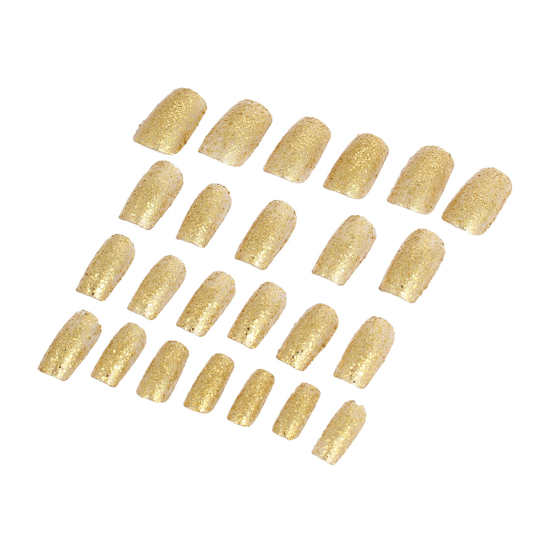 Unique Bargains Lady Powder Detail DIY Fake False Fingernail Full Nail Art Tip Gold Tone 24 in 1