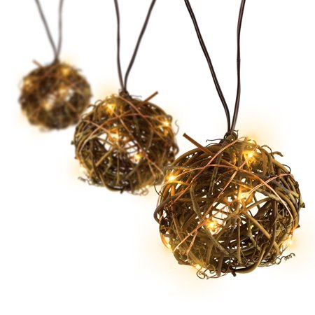 Meilo 12ft Twig Orb String Lights - 6 Large Globes (3'' Diameter) G25 Warm White LED Lights for RV, Patio, Courtyards, Weddings, Christmas Décor, Indoor/Outdoor ()