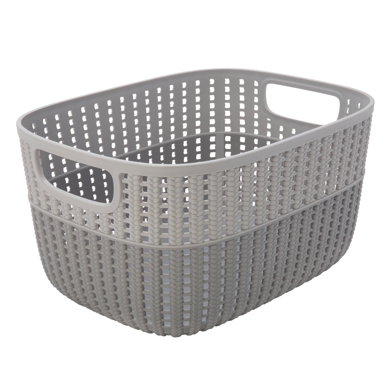 Simplify Sailor Knot Storage Tote Two Tone Grey - Medium- (Dims: 11 x 9 x 6 Inch - 6.8 Lt.)
