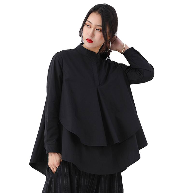 Stand Collar Long Sleeve Patchwork Split Asymmetrical Blouse - image 5 of 5