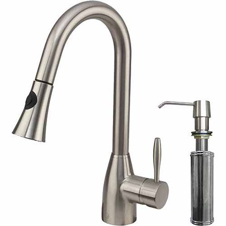Vigo Pull Out Spray Kitchen Faucet With Soap Dispenser Stainless Steel