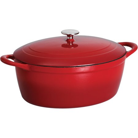 Tramontina 7-Quart Gourmet Cast Iron Covered Oval Dutch (Le Creuset Oval Dutch Oven 3-5 Qt)