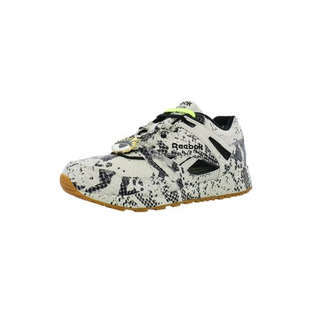 Reebok M48640 Womens Classic Melody Ehsani Leather Ventilator Me Graphic Sneakers White Black Yellow