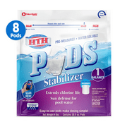 HTH Stabilizer Pre-measured Water Soluble Pods for Pools, 4 lb, 8 ct
