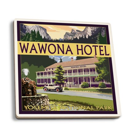 Yosemite National Park  California   Wawona Hotel   Lantern Press Artwork  Set Of 4 Ceramic Coasters   Cork Backed  Absorbent