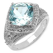 Malaika  Sterling Silver 3 7/8ct Blue and White Topaz Ring