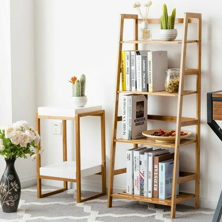 4 Tier Home Room Bookcase Bookshelf Bamboo Shelf Ladder Storage Display Stand thumbnail