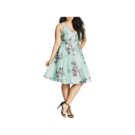 City Chic Womens Plus Floral Fit & Flare Party Dress - Party City Dresses