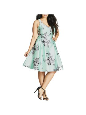 City Chic Womens Plus Floral Fit & Flare Party Dress