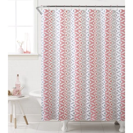 Sheena 13 Piece Geometric PEVA Shower Curtain With Hooks Coral Gray 72x72 Inches
