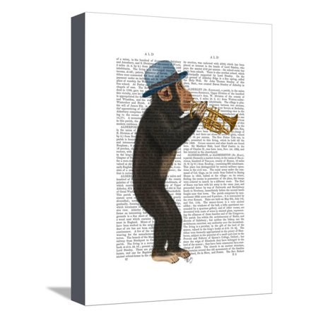 Monkey Playing Trumpet with Blue Hat Stretched Canvas Print Wall Art By Fab