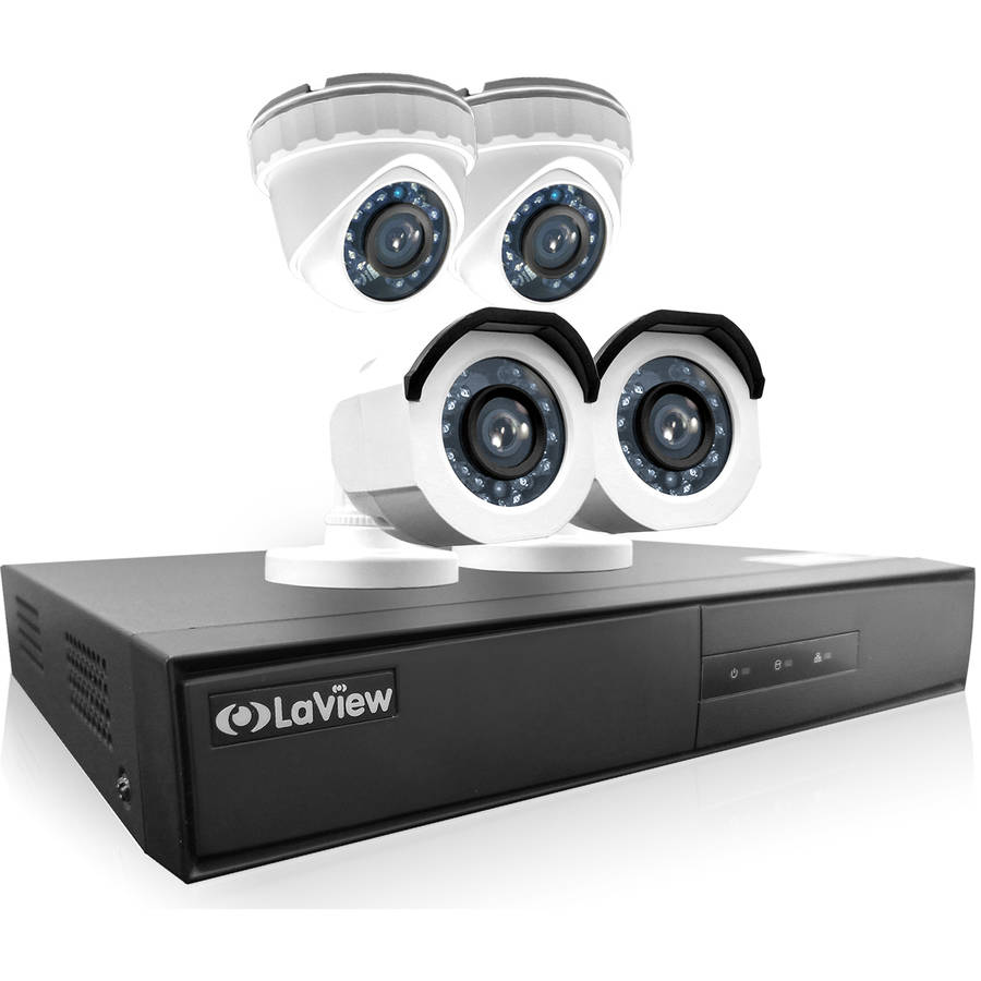 LaView 4-Camera 4-Channel High-Definition DVR Security System with 720p HD Bullet Surveillance Camera and Turret Surveillance Camera, 1TB Hard Drive and Remote View