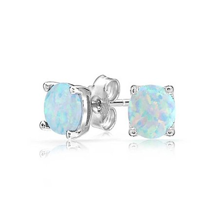 White Fire Opal Stud Earrings White Gold Plated Ginger Lyne Collection