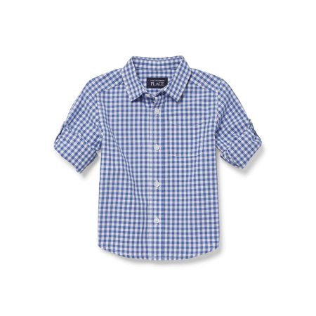 Boys Plaid (The Children's Place Long Sleeve Rollup Plaid Poplin Button Up Shirt (Baby Boys & Toddler)