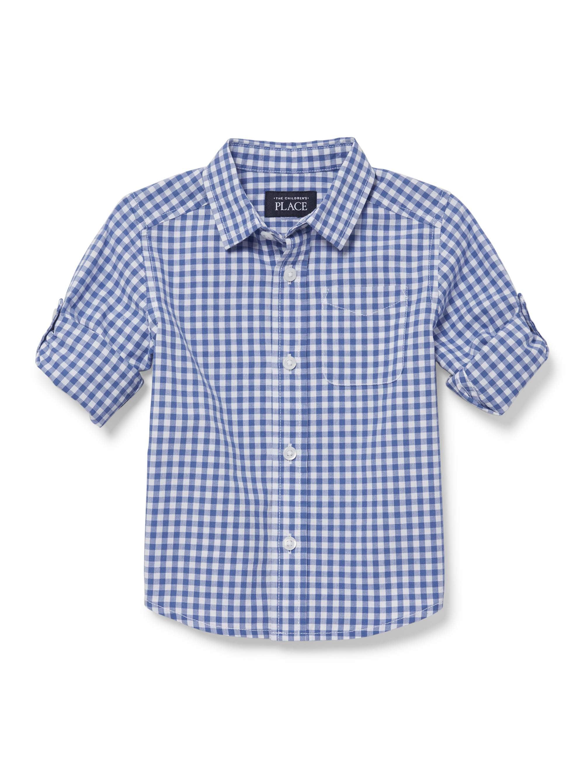 Long Sleeve Rollup Plaid Poplin Button Up Shirt (Baby Boys & Toddler Boys)