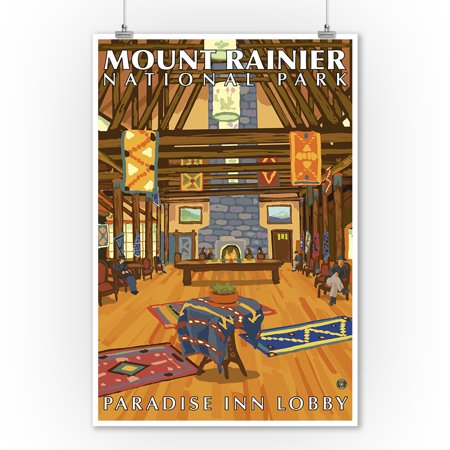 Mount Rainier, Washington - Paradise Inn Lobby - Lantern Press Artwork (9x12 Art Print, Wall Decor Travel Poster)