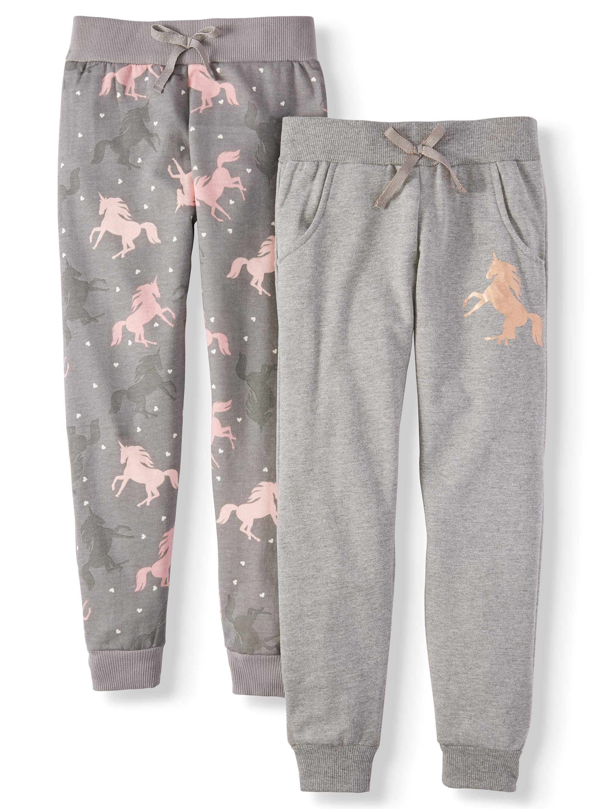 Foil Unicorn and All Over Print Fleece Joggers, 2-Pack (Little Girls & Big Girls)