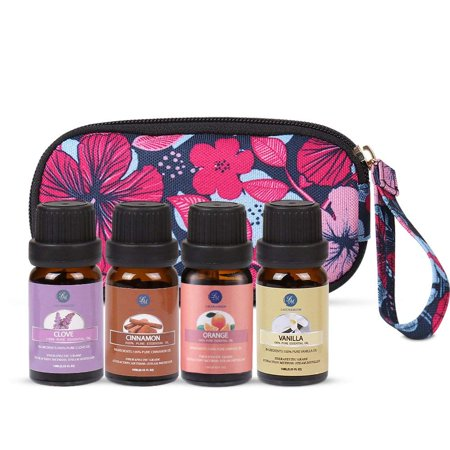 Clove Aromatherapy - Essential Oils Set with Travel Bag,10ml Orange Clove Vanilla Cinnamon For Skin &Hair Care,Premium Therapeutic Aromatherapy 4 Pcs Oil Kit For Massage &Relaxing
