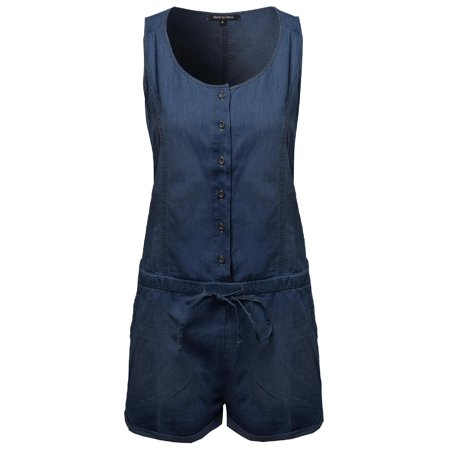 5c55cb735a4 FashionOutfit Women s Classic Basic Denim Sleeveless Romper With ...