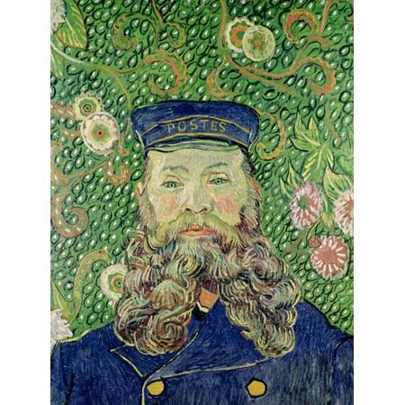 Portrait of the Postman Joseph Roulin, c.1889 Post-Impressionist Portrait Painting of Man Print Wall Art By Vincent van