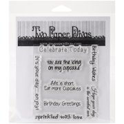 """Two Paper Divas Clear Stamps 7.5""""X6""""-Birthday Greetings"""