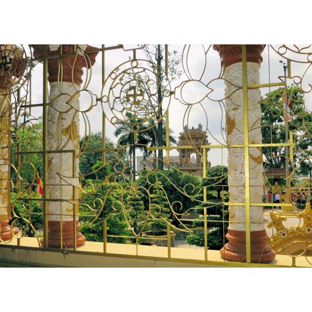 LAMINATED POSTER Temple Grid Viet NAM Column Color Rune Ironwork Poster Print 11 x 17