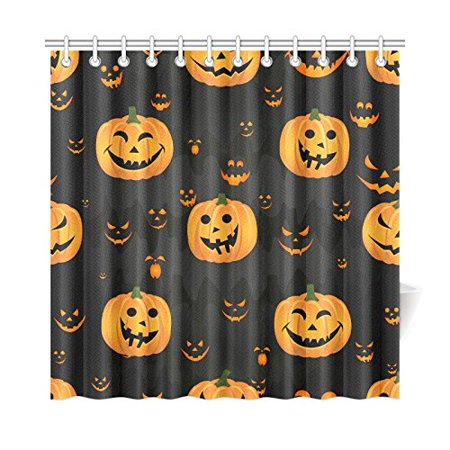 WOPOP Funny Halloween Pumpkin Scary Face Shower Curtain Waterproof Fabric Bath Curtain 66x72 inches