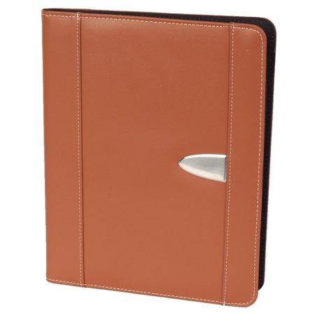 Leather Portfolio Padfolio Resume Portfolio with Replaceable A4 Letter Size Writing Pad, Document Holder, Card Holder and Pen Holder