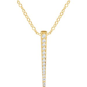 "Jewels By Lux 14K Yellow Gold 1/4 CTW Diamond Graduated 16-18"" Bar Necklace"