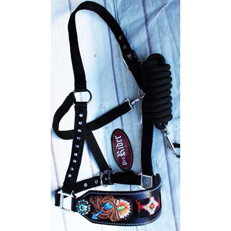 Quality Horse Halter (Horse Noseband Tack Bronc Leather HALTER Tiedown Lead Rope Turquoise 280M7988)