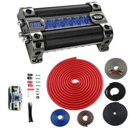 BOSS CAP8 8 FARAD LED Digital Car Capacitor Cap + BGE4RP 4 Gauge Wiring Kit