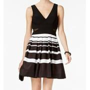 Xscape NEW Blue Striped Pleated Women's Size 2 A-Line Cutout Dress