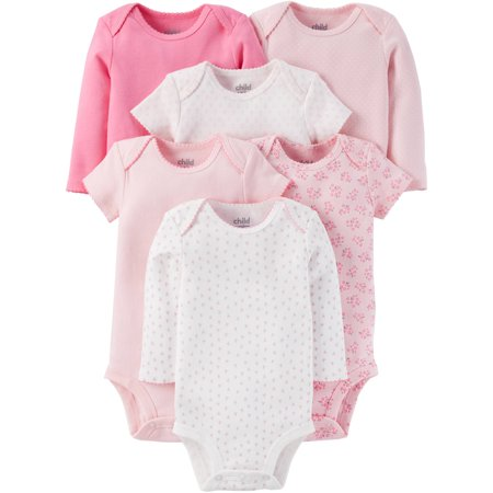 (Newborn Baby Girl Short and Longsleeve Bodysuit Set 6-Pieces)