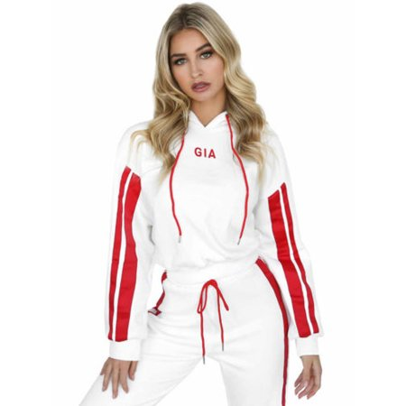 2Pcs Set Women Tracksuit Hoodies Crop Top Sweatshirt Pants Lounge Sports Wear