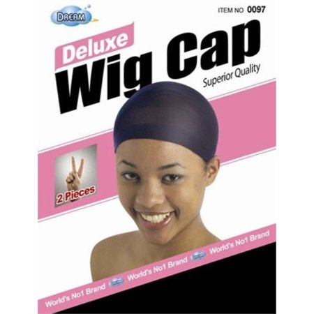dream deluxe wig cap black 2 pc (model: 097 black), spandex cap, wig cap, mesh cap, snood, hair net, fish net