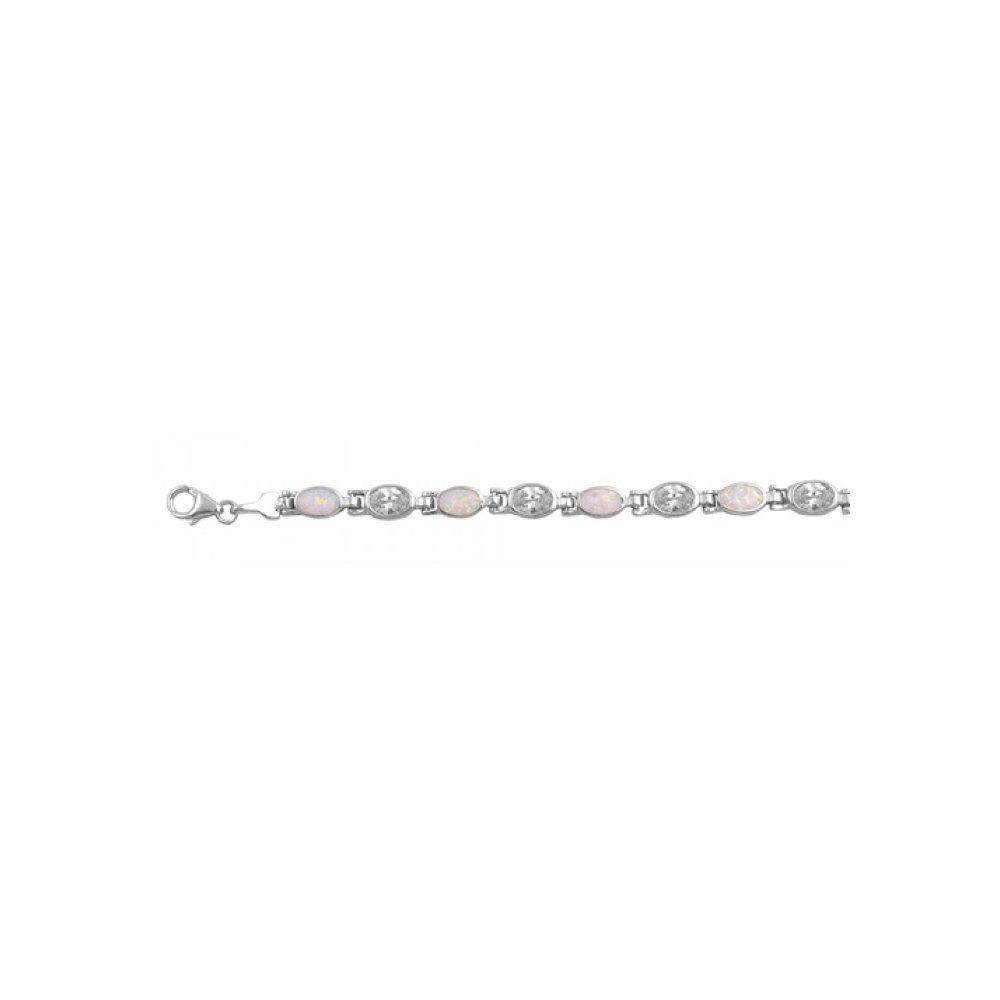925 Sterling Silver Bracelet With Lab opal Gem by Royal Design