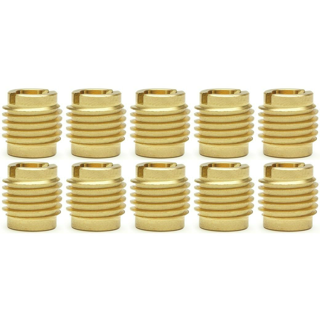 """Ten (10) 1/4""""-20 Brass Threaded Inserts For Wood 