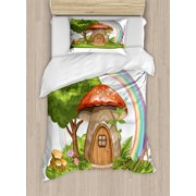 Fantasy Duvet Cover Set, Magic World with Mushroom House in the Forest with Rainbow Fairytale Children Print, Decorative Bedding Set with Pillow Shams, Multicolor, by Ambesonne