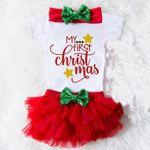 3Pcs Christmas Newborn Baby Girls Romper Jumpsuit+Tutu Shorts Outfits Clothes US