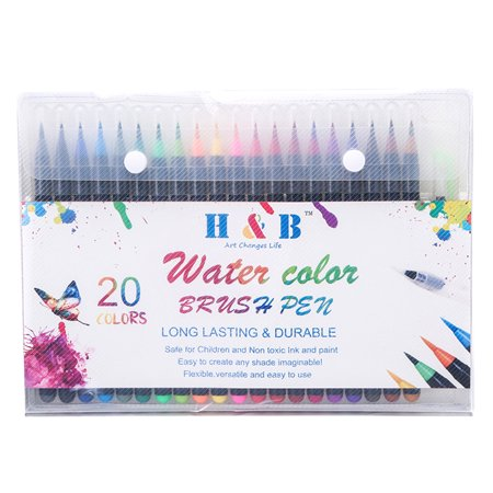 Manga Art Pens (H&B 20 Colors Watercolor Brush Pen Set Art Markers Drawing Painting Soft Brush Pen for Coloring Manga Sketch)