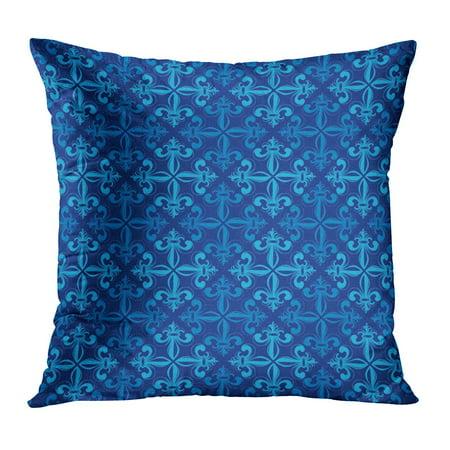Light Blue Fleur De Lis - ECCOT Green Abstract Blue Lily Fleur De Lis Billboard Broadsheet Emblem LYS Flora Pillow Case Pillow Cover 18x18 inch