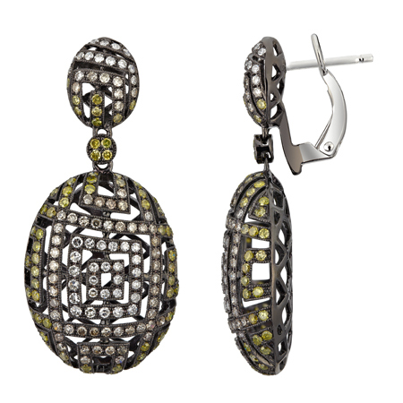 14K White Gold 1.8ct Big Ball of Fire White & Yellow Diamond Dangle Earrings