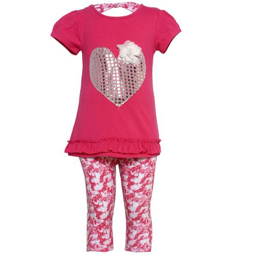 Ziggles Wiggles Little Girls Fuchsia Shiny Dot Heart 2 Pc Legging Set 2T